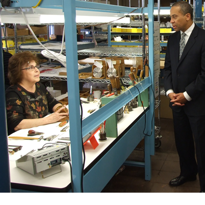 MA Governor Deval Patrick in Chelsea Clock Factory