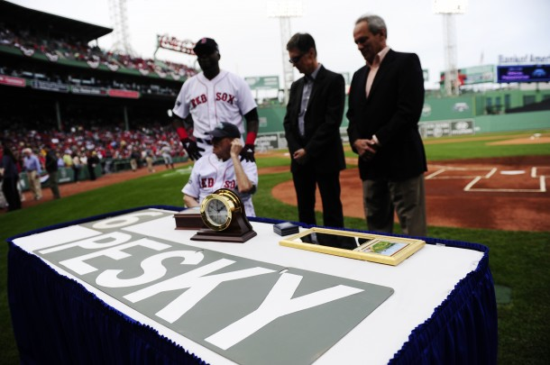 Johnny Pesky receives Chelsea Clock at Fenway Park
