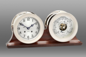 corporate gift: Ship's Bell Clock & Barometer set in double base by Chelsea Clock