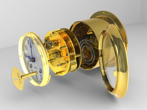 A modern CAD rendering demonstrating the assembly of our classic Ship's Bell clock.