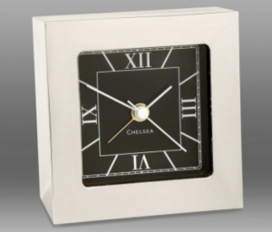 corporate gift: Square Desk Alarm Clock in nickel by Chelsea Clock