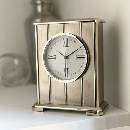 Embassy Clock in Nickel with Roman Dial