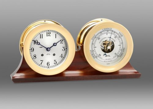 Ship's Bell Clock and Barometer in Brass