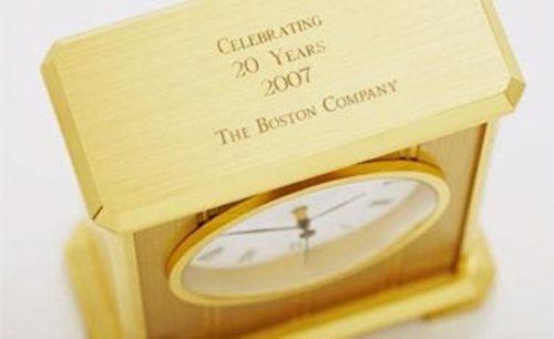 Engraved Embassy Clock in Brass