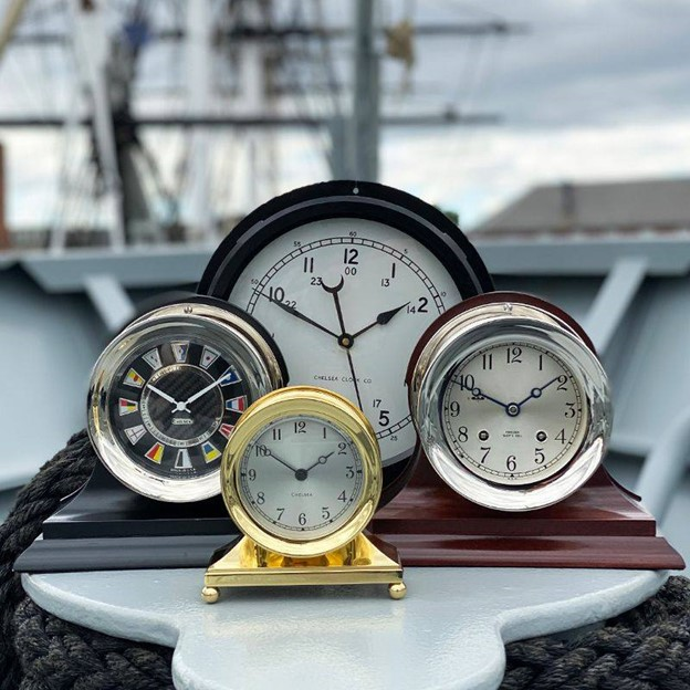 Clocks with Brass Casings and Hand-Silvered Dials