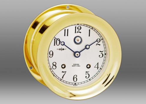 "US Navy 4 1/2"" Ship's Bell Clock in Brass"