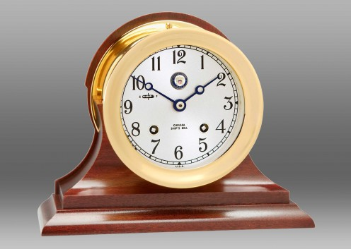 "US Navy 4 1/2"" Ship's Bell Clock on Traditional Base"