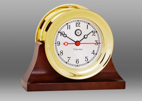 "US Navy 4 1/2"" Shipstrike Quartz Clock in Brass on Contemporary Base"