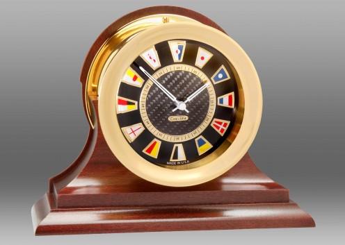 Carbon Fiber Flag Clock, Brass,Traditional Mahogany Base