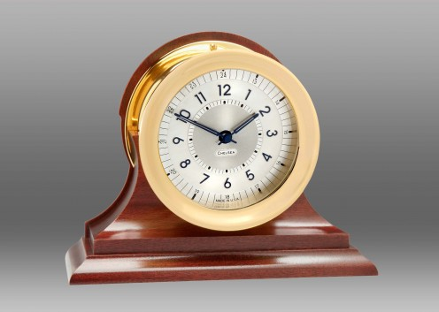 Polaris 12/24 Clock, Brass on Traditional Base