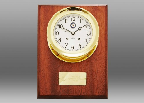 "US Navy 4 1/2"" Ship's Bell Clock, Brass, Mahogany Wall Plaque"