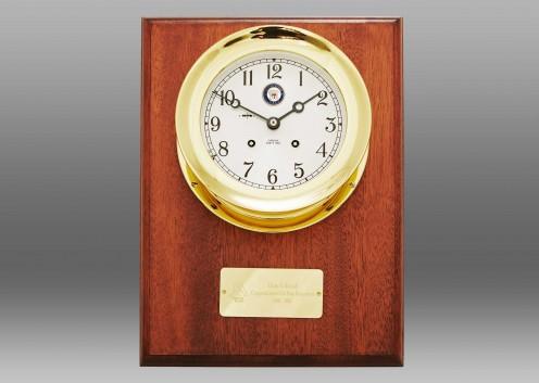 """US Navy 4 1/2"""" Ship's Bell Clock, Brass, Mahogany Wall Plaque"""