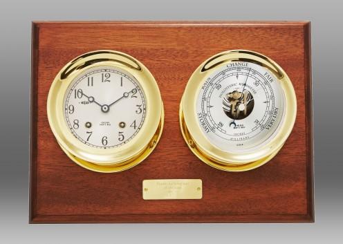 "4 1/2"" Ship's Bell Clock & Barometer on Mahogany Wall Plaque"