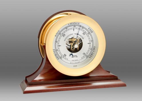 """6"""" Ship's Bell Barometer in Brass on Traditional Base"""