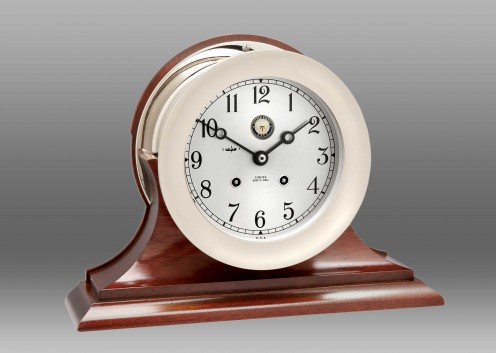 """US Navy 6"""" Ship's Bell Clock Nickel on Traditional Base"""