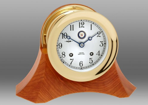 "US Navy 6"" Ship's Bell Clock on Custom Thos. Moser Cherry Wood Base"