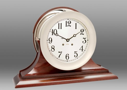 "8 1/2"" Ship's Bell Clock in Nickel on Traditional Base"