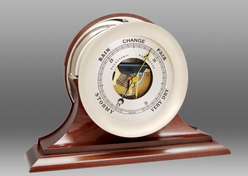 """8.5"""" Ship's Bell Barometer in Nickel on Traditional Base"""