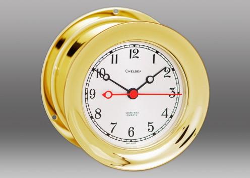 "4 1/2"" Shipstrike Quartz Clock in Brass"