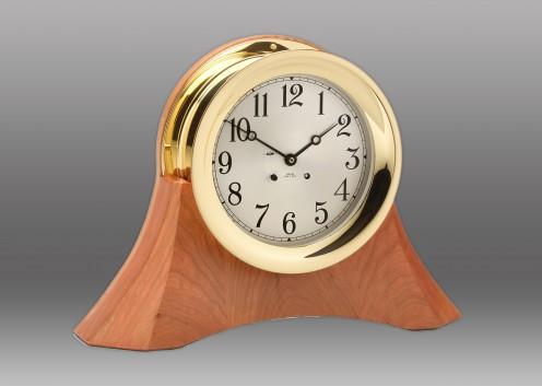 "6"" Ship's Bell Clock on Custom Thos. Moser Cherry Wood Base"