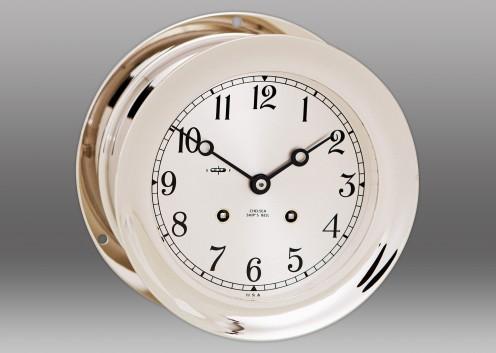 "8 1/2"" Ship's Bell Clock in Nickel"