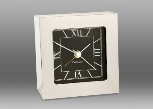 Square Desk Alarm Clock in Nickel