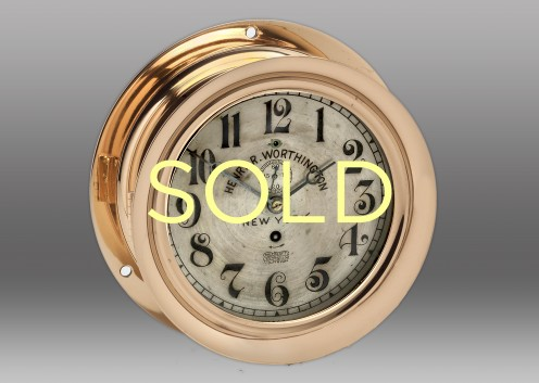 """7"""" Brass Time Only E. Howard Clock, Circa early 1900's"""