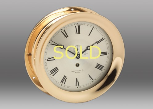 """8 1/2"""" Brass Time Only Chelsea Clock, 1906"""