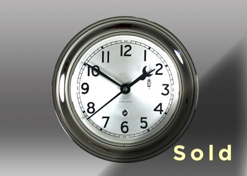 "6"" Marine Mechanical Clock, Nickel"