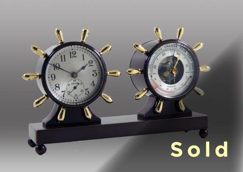 Fulton Mechanical Clock & Barometer Desk Set