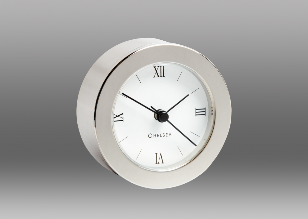Duxbury Desk Clock, Nickel
