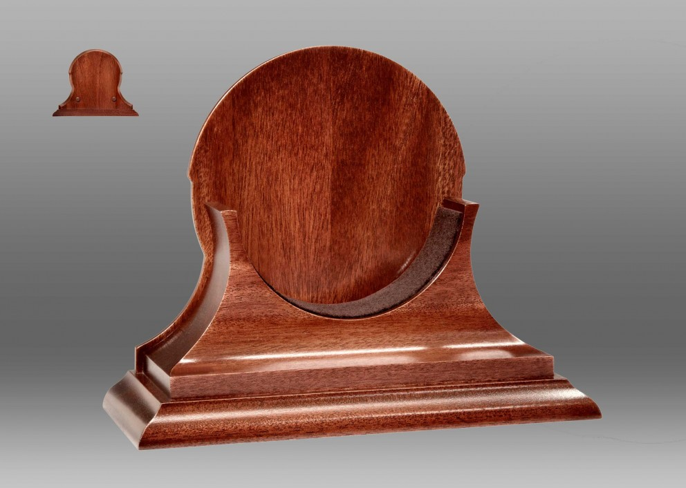 "6"" Traditional Base in Mahogany for Brass Time-Only Clocks"