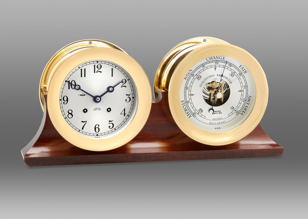"4 1/2"" Ship's Bell Clock and Barometer in Brass on Double Base"