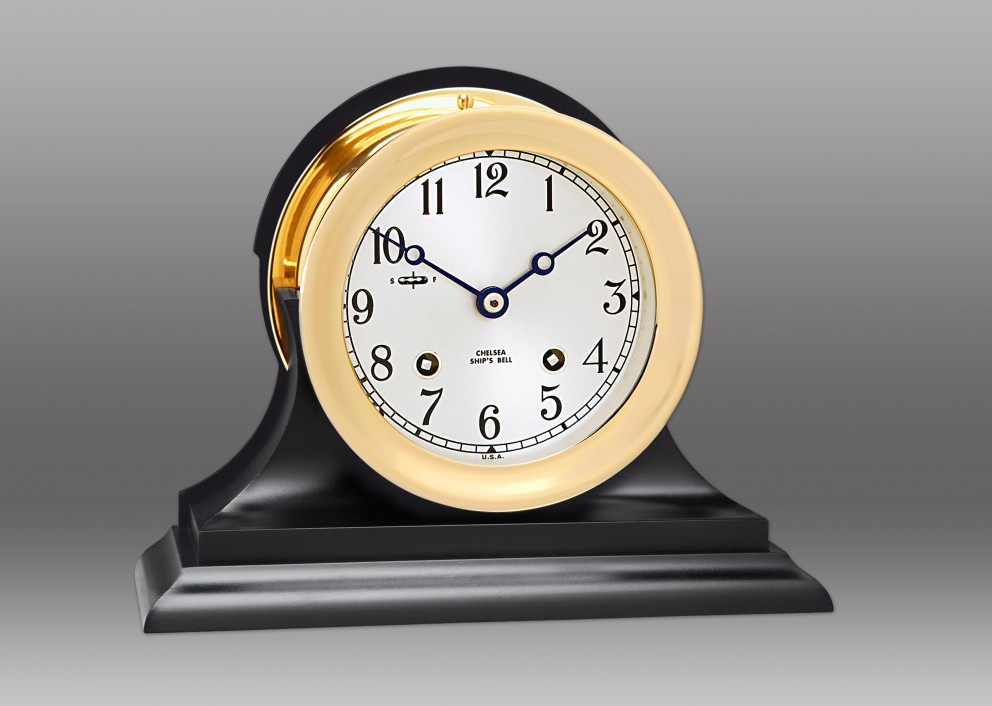 "4.5"" Ship's Bell Clock on Black Traditional Base"