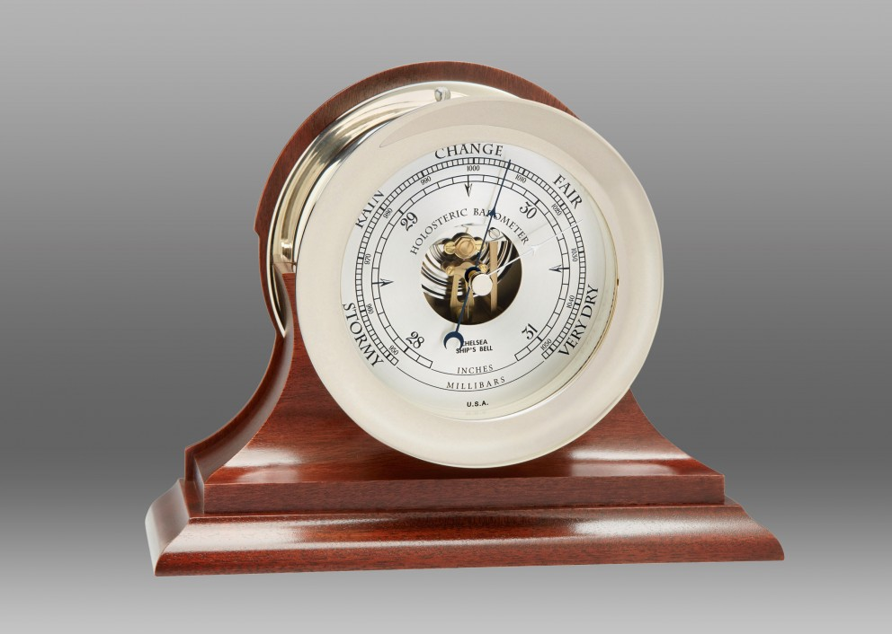 "4 1/2"" Ships's Bell Barometer in Nickel on Mahogany Traditional Base"