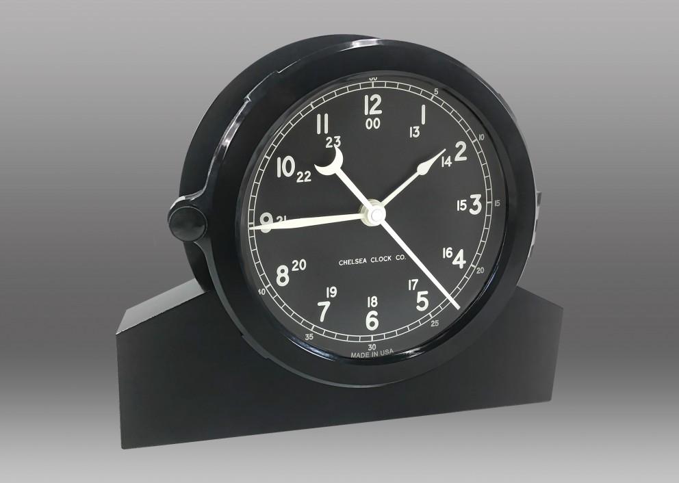 "Patriot Deck Clock and Base - 6"" Black Dial"