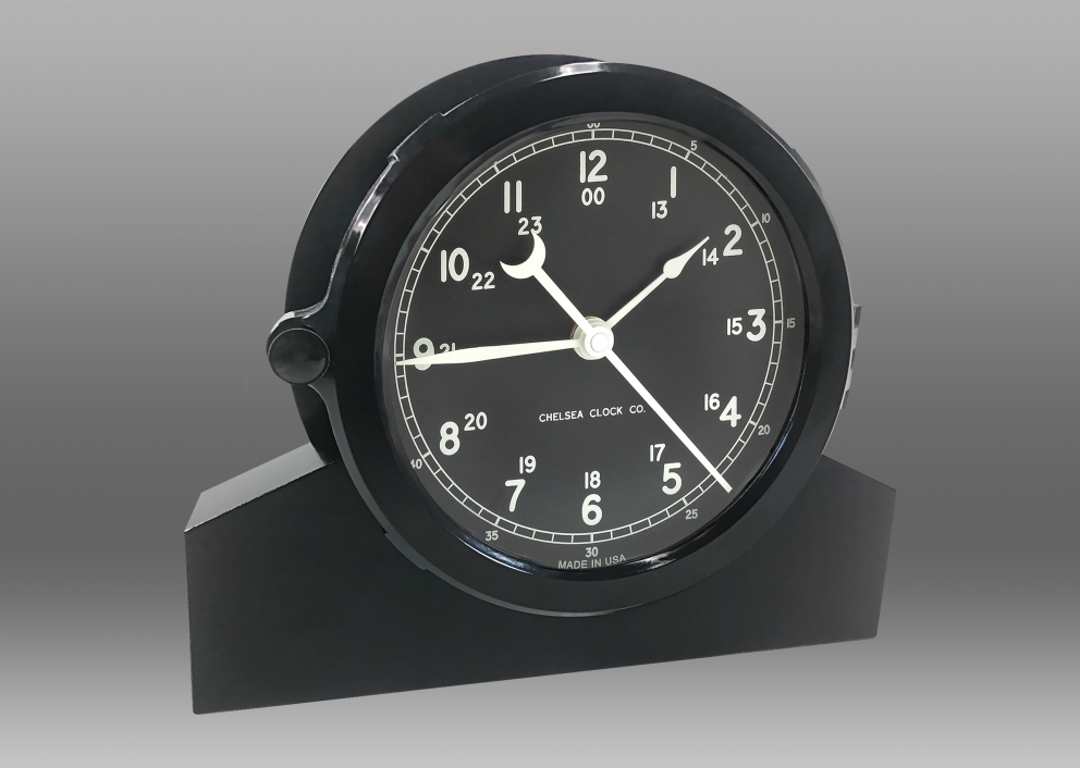 "Patriot Deck Clock and Base - 8.5"" Black Dial"