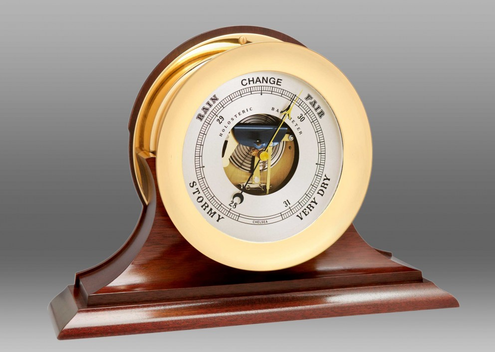 "8 1/2"" Ship's Bell Barometer, Traditional Base"