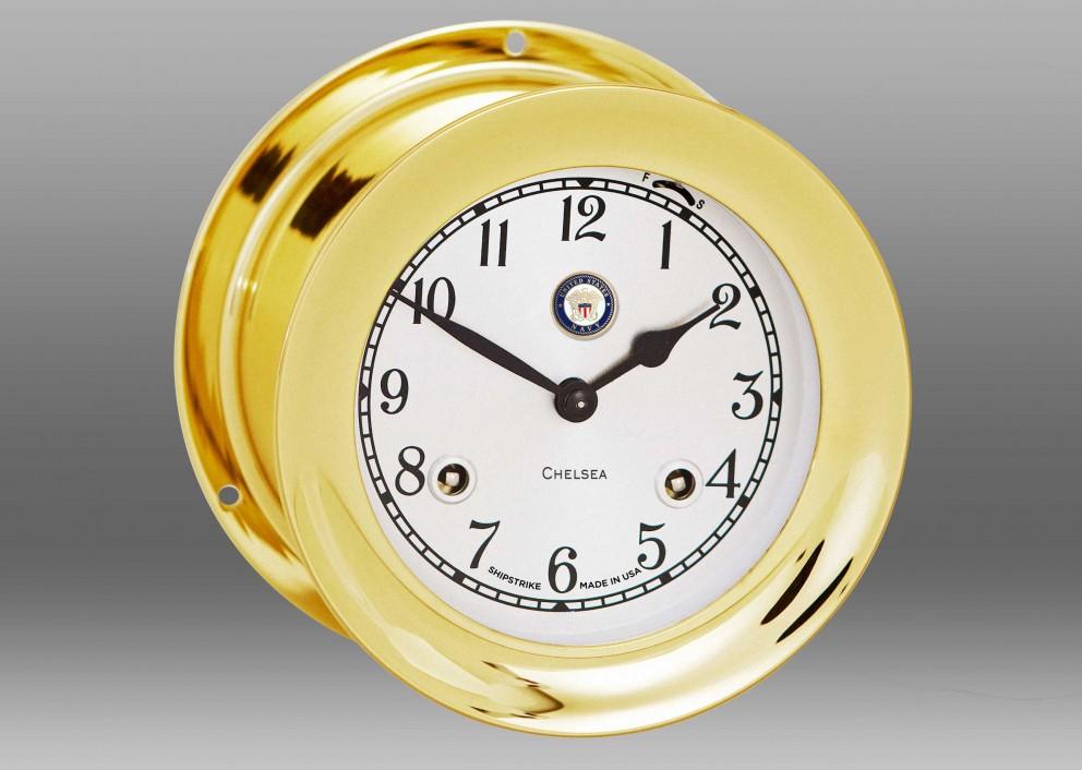 "US Navy 4 1/2"" Shipstrike Clock in Brass"