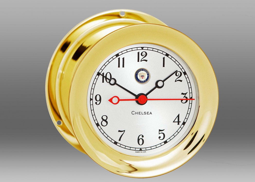 "US Navy 4 1/2"" Shipstrike Quartz Clock in Brass"
