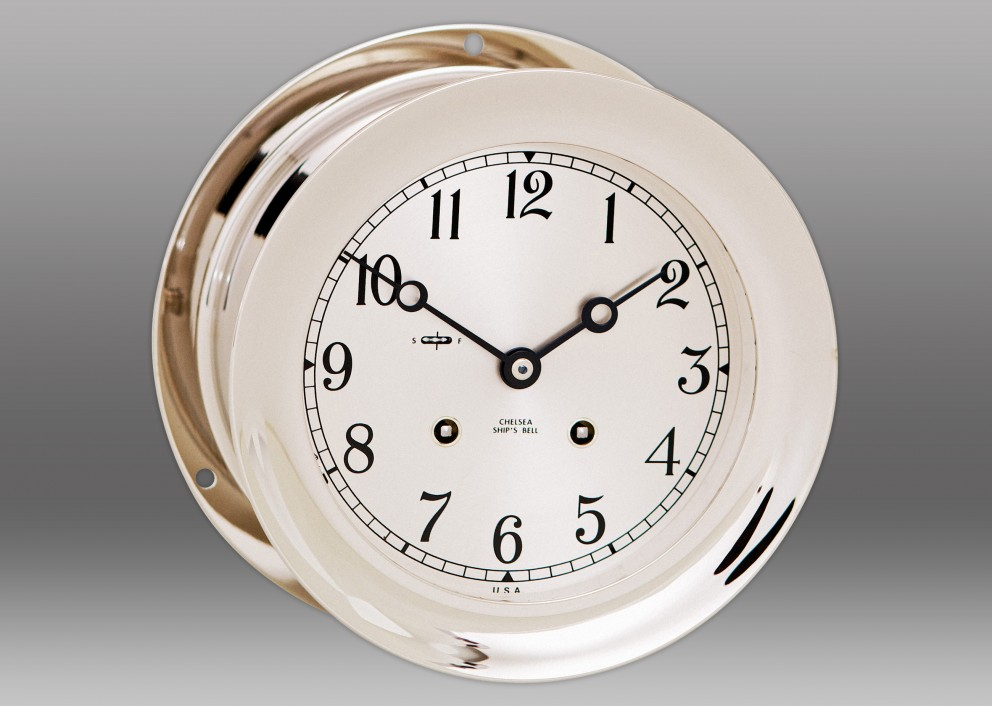 "8 1/2"" Ship's Bell Clock in Nickel"