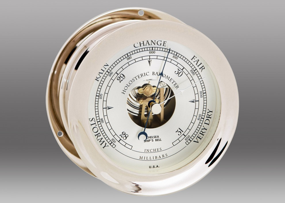 "6"" Ship's Bell Barometer in Nickel"