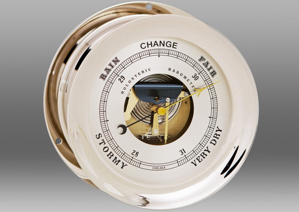 "8 1/2"" Ship's Bell Barometer in Nickel"