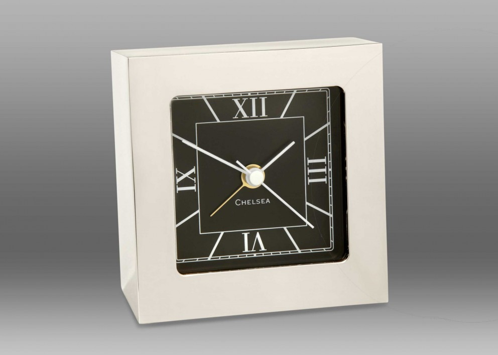 Square Desk Alarm Clock in Nickel