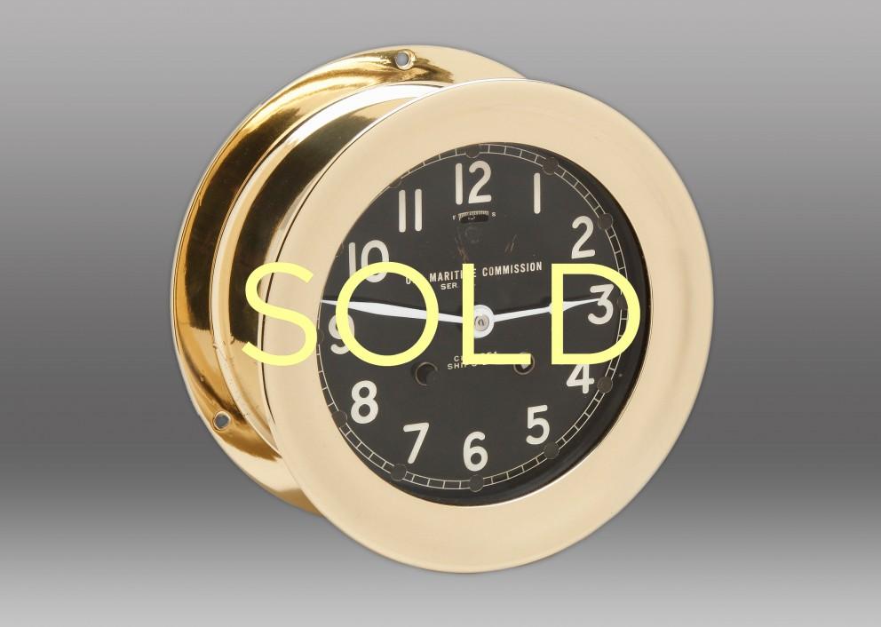 "6"" WWII Brass Chelsea Ship's Bell Clock"