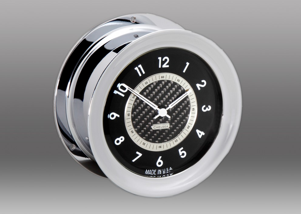 Carbon Fiber 12 Hour Clock, Chrome