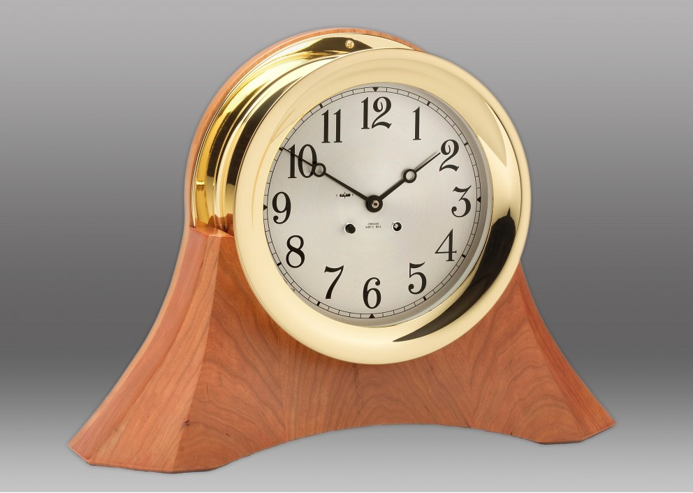 "8 1/2"" Ship's Bell Clock on Custom Thos. Moser Cherry Base"