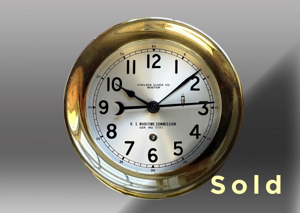 "6"" Marine Mechanical  Deck Clock - 12 Hour Dial, 1942"