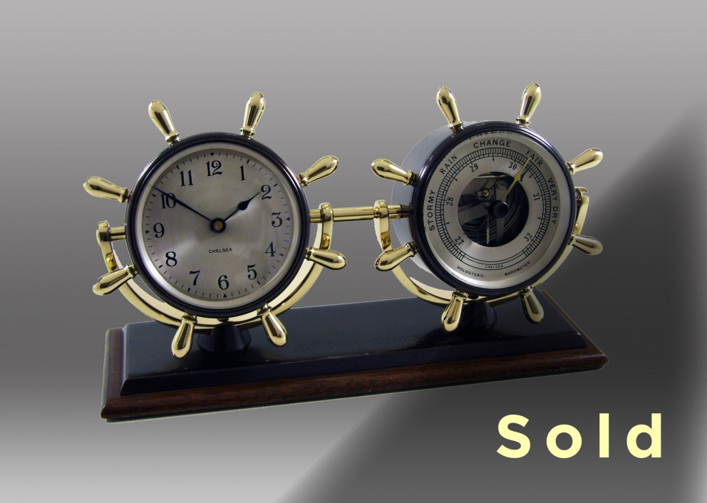 Corvette Mechanical Clock & Barometer Desk Set