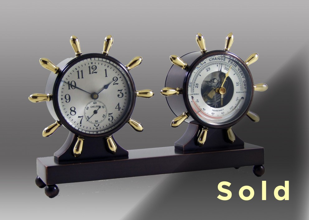 Fulton Mechanical Clock & Barometer Desk Set